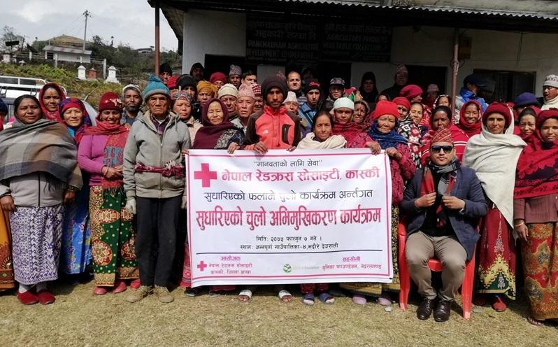 Inwoners Bhadaure tijdens training