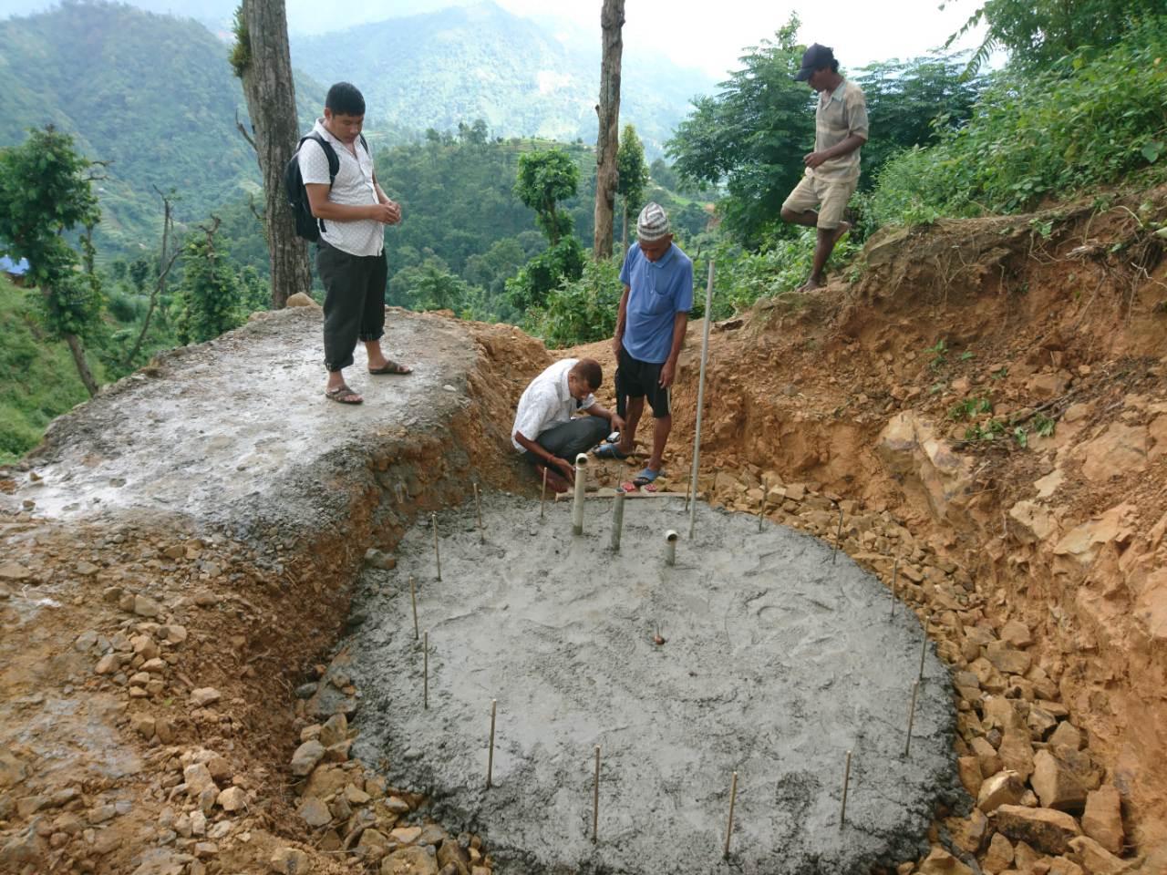 Fundering van het drinkwater reservoir