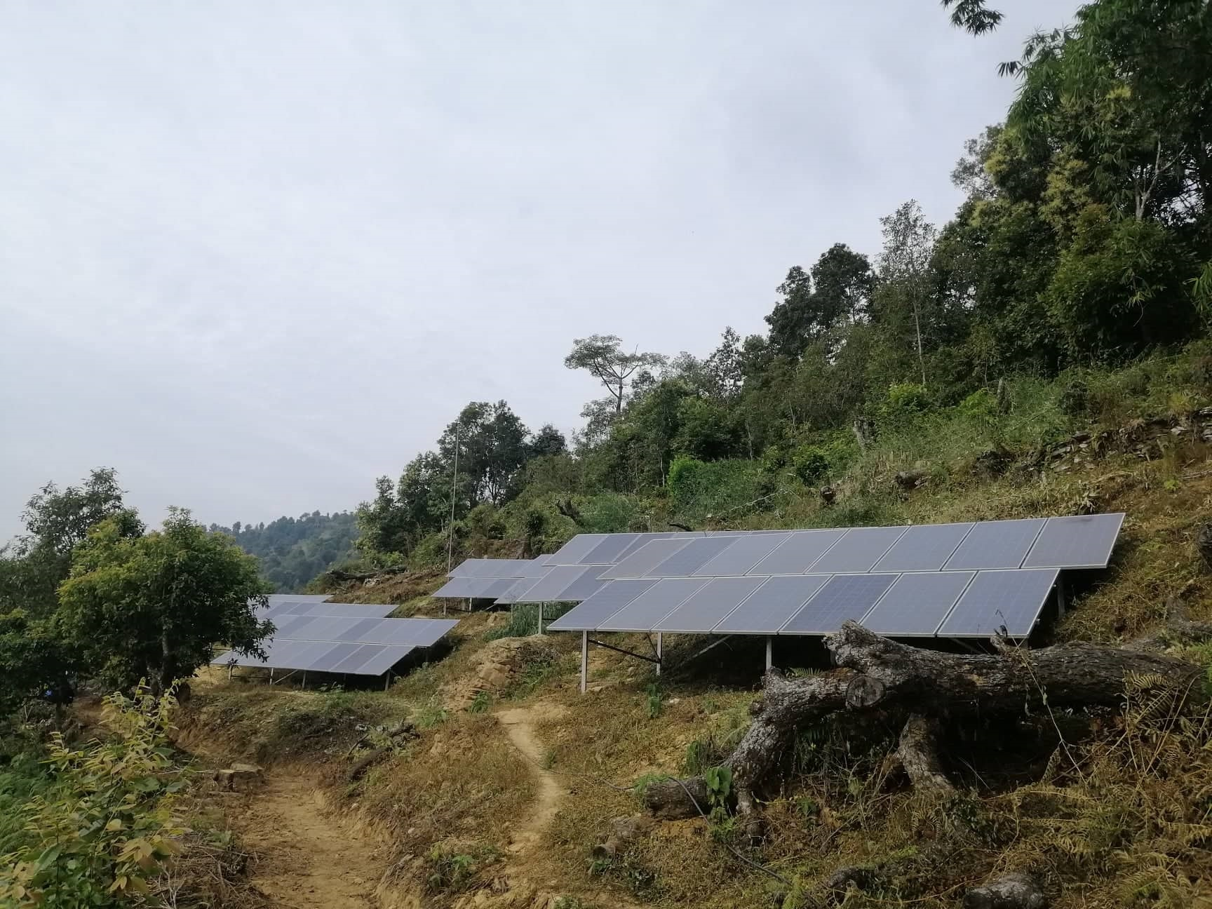 Solar panels to feed the pump system near by the 2nd stage pump house in Ramkot
