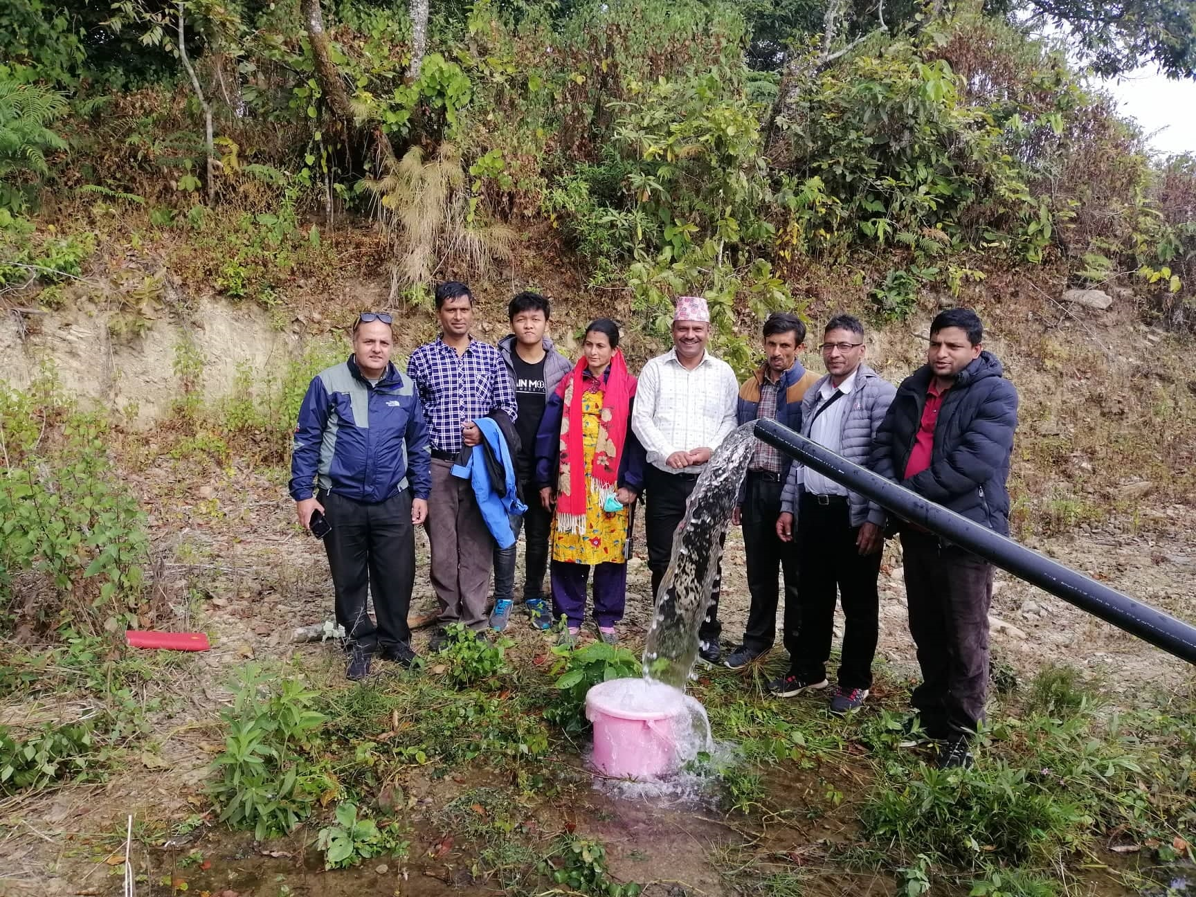 Staff and board member of NRCS Kaski at the highest point of the site (altitude 1335 meters)